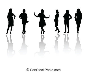 filles, mode, silhouette