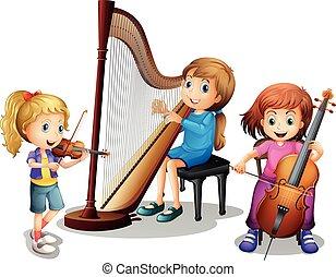 filles, musique, trois, jouer