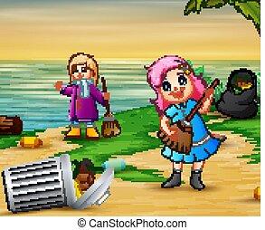 filles, nettoyage, plage, peu, deux