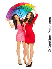 filles, parapluie, deux, jeune