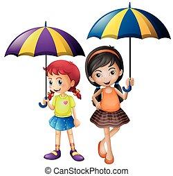 filles, parapluie, deux, tenue