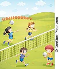 filles, parc, jouer volleyball, garçons