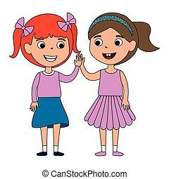 filles, peu, amis, caractères
