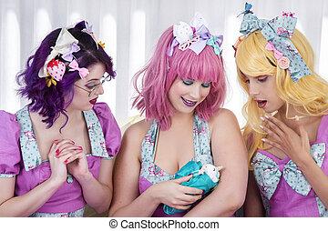 filles, pinup, outfits., coloré