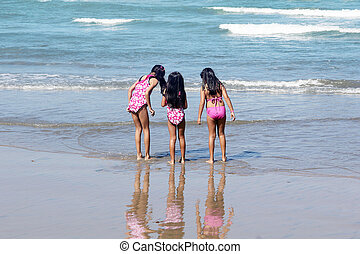 filles, plage, trois