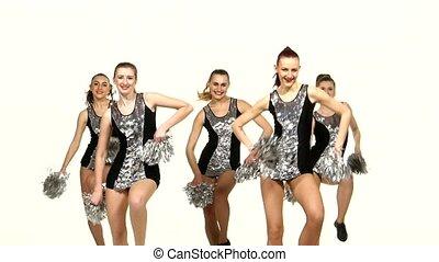 filles, pom-poms, main, groupe, danse