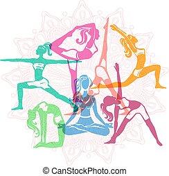 filles, poses, ensemble, yoga