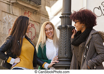 filles, rue, groupe