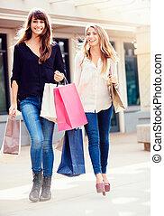 filles, sacs, beau, achats