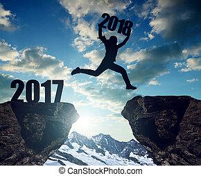 filles, saut, à, les, nouvel an, 2018