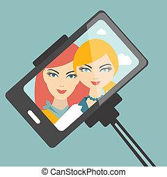 filles, selfie, photo., ami, photography.