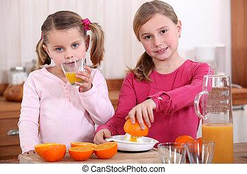 filles, serrage, oranges