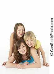 filles, studio, groupe, trois, jeune