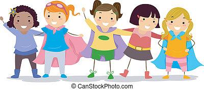 filles, superhero, costumes