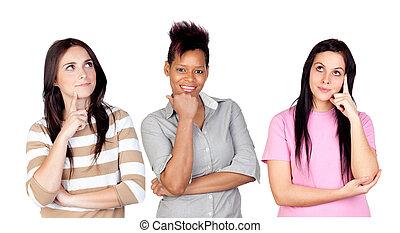 filles, trois, songeur