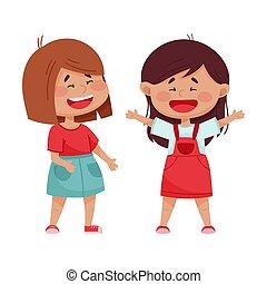 filles, vecteur, illustration, jouer, peu, amical, rire
