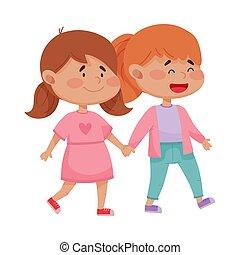 filles, vecteur, illustration, tenue, cheeked, rouges, peu, ...