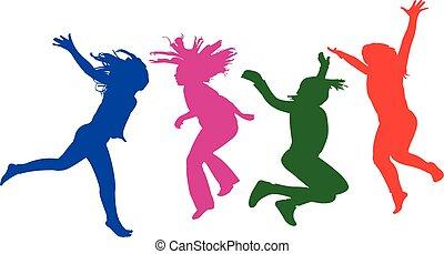 filles, vecteur, sauter, silhouette