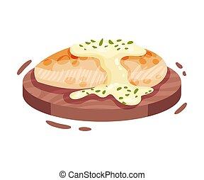 fillet., illustration, arrière-plan., vecteur, poulet, frit, blanc
