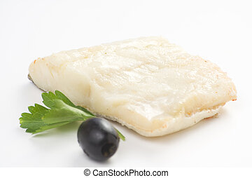 fillet of cod baked tomatoes zucchini black olives isolated