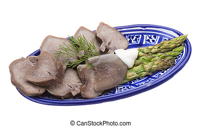 Fillet of pork tongue with asparagus