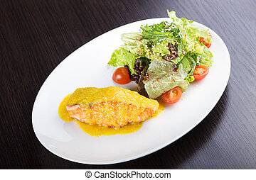 fillet of salmon fish and cheese