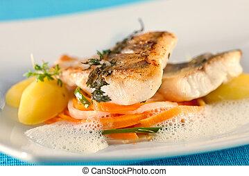 fillet., peces blancos, percha
