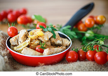 fillet roasted turkey slices with vegetables