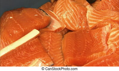 Filleted and cut salmon fish - A close up shot of cut salmon...