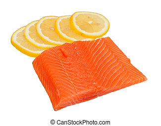 salmon - filleted salmon and lemon isolated on white ...