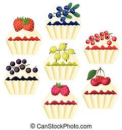 filling., セット, 様々, cupcakes