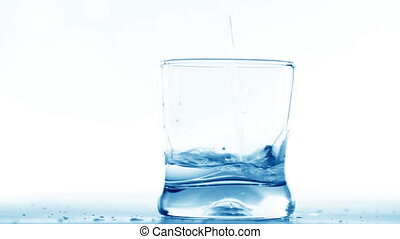 Filling a glass with water