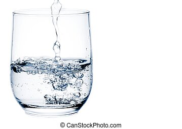 filling a glass with water with space for text