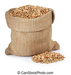 filling bag of lentils isolated on white background