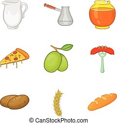 Filling for baking icons set, cartoon style