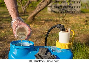 Filling in pesticide