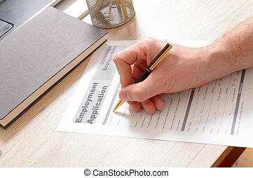 Filling inblank employment application form