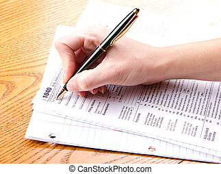 filling out a 1040 tax form