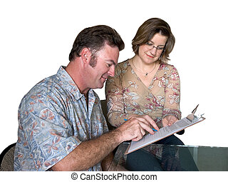 Filling Out Forms - a job applicant filling out forms with...