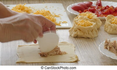 filling pies food ingredients-chicken meat, cheese, tomatoes...