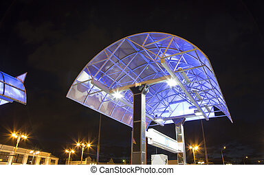 Filling station (Gas station) at night, Moscow, Russia