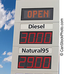 Filling station - Light board of filling station. Gas prices...