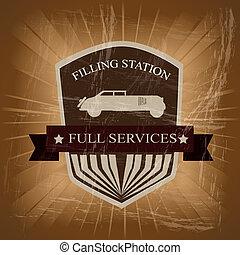 filling station over vintage background vector illustration