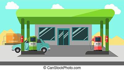 Filling station working colorful vector illustration in flat design