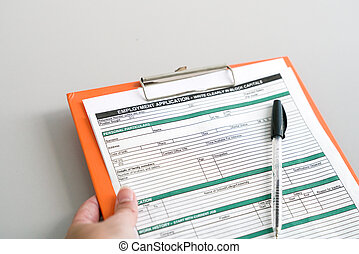 Filling the employment application form