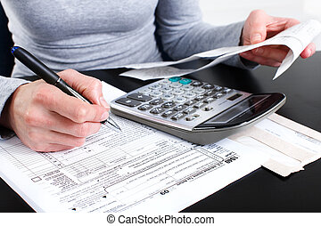 Filling the Tax Form - Filling the Form 1040. Standard US...
