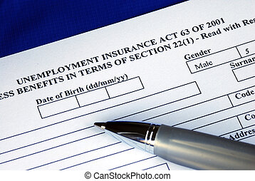 Filling the unemployment insurance application form isolated in blue