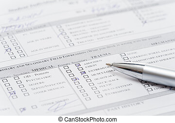 Filling up emergency medical form document