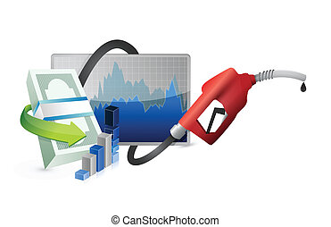 filling up the economy concept with a gas pump