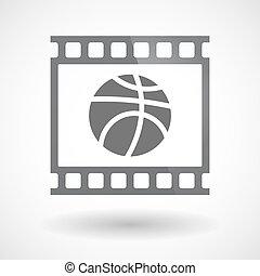 film 35mm, boule basket-ball, isolé, cadre, diapo, photogram